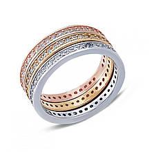 Серебряное кольцо с куб. циркониями, размер 15.5 (149488)