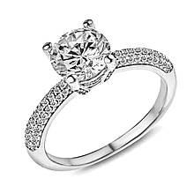 Серебряное кольцо с куб. циркониями, размер 16 (141125)