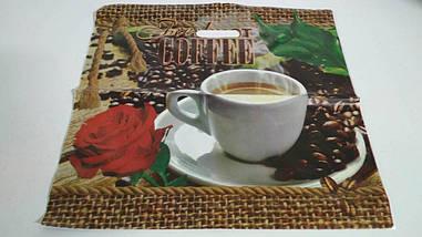"""Пакет с прорезной ручкой (45*45+3)""""Кофе с листом"""" Леоми (50 шт)"""
