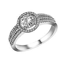 Серебряное кольцо с куб. циркониями, размер 16.5 (143609)