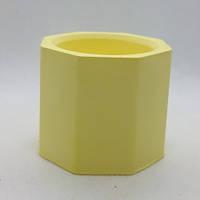 Кашпо декоративное желтое из гипса форма Бочонок для декора, h=5,0 см d=5,5 см