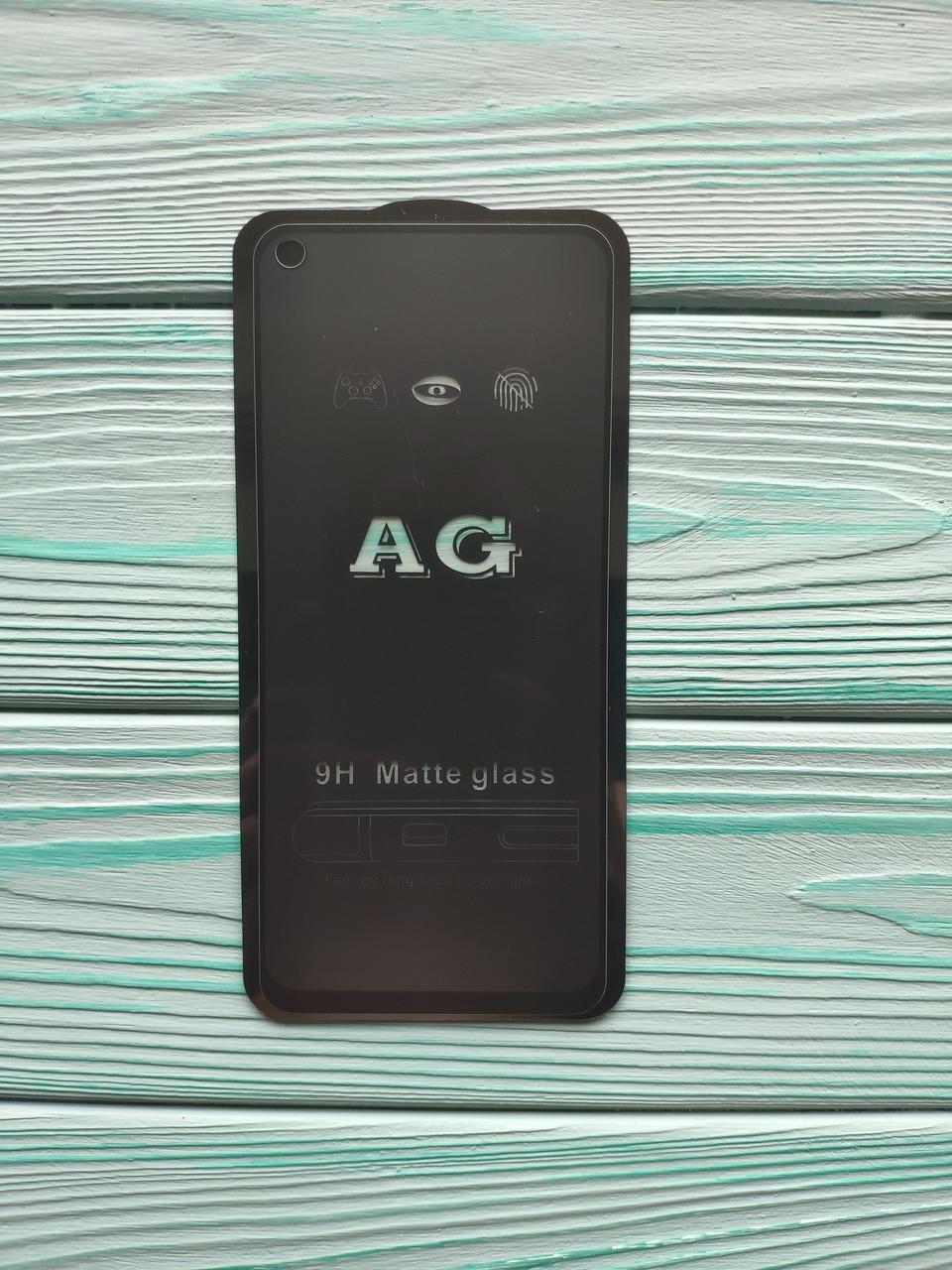 Защитное стекло AG Matte Full Glue для Realme 6 Матовое Черное