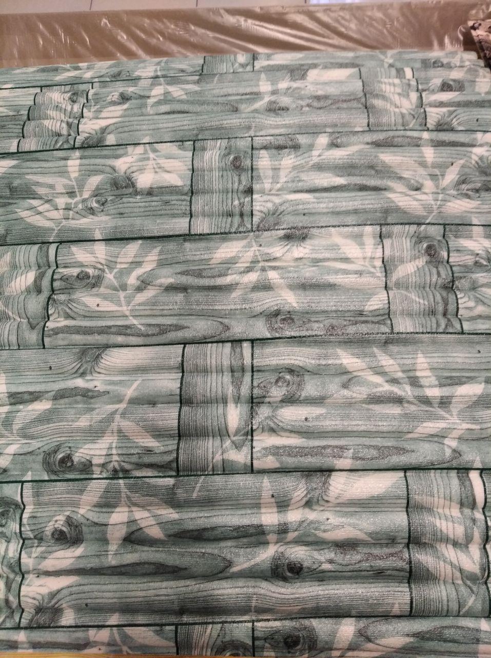 Панель стінова 3D Sticker Wall Wall Sticker самоклеюча 70х77 см бамбукова кладка бірюза