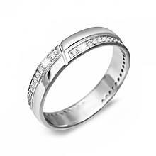 Серебряное кольцо с куб. циркониями, размер 16.5 (143018)