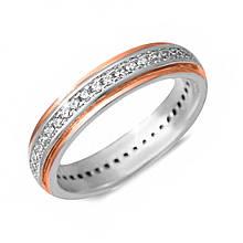 Серебряное кольцо с куб. циркониями, размер 15 (143025)