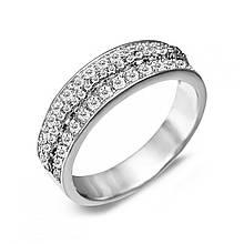 Серебряное кольцо с куб. циркониями, размер 16 (143582)