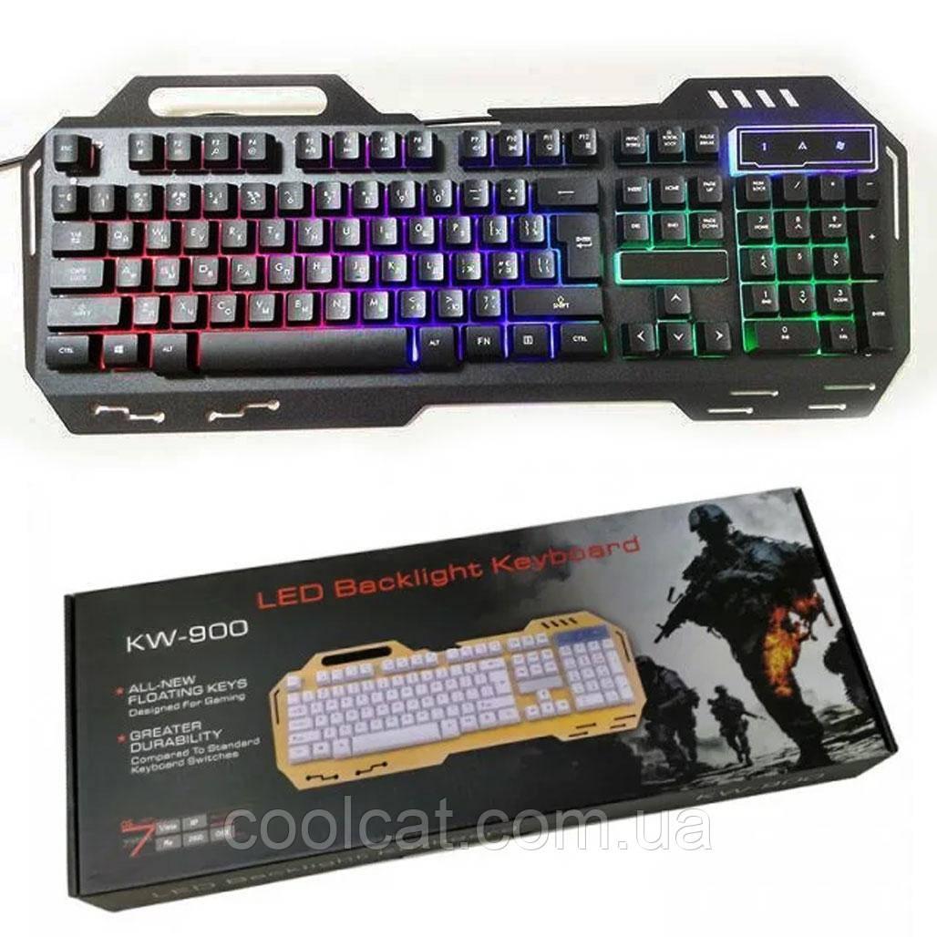 Клавиатура проводная Led Backlight GK-900 / Проводная игровая клавиатура с подсветкой