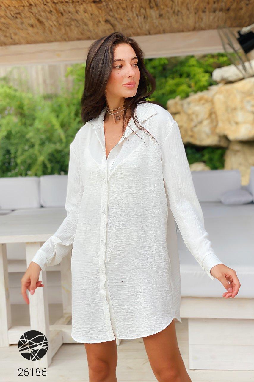 Льняное платье-рубашка белого цвета. Модель 26186