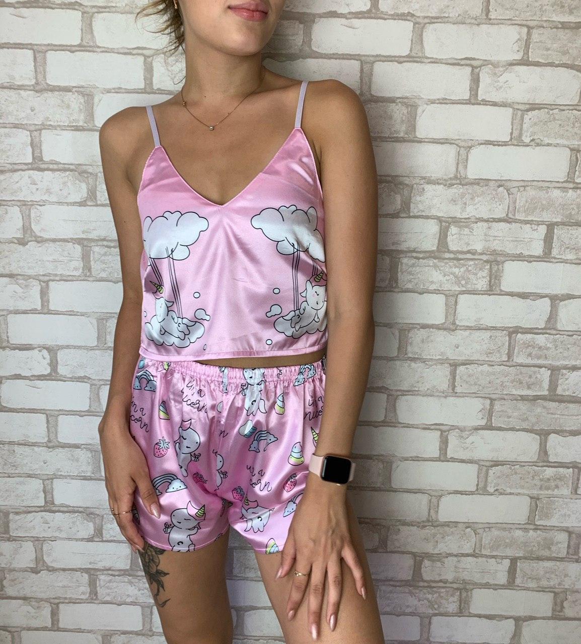 Пижама женская атласная в расцветке Единорогом,в наличии Все Размеры и Цвета в ассортименте