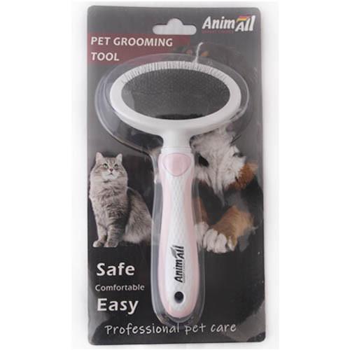 Пуходерка AnimAll Groom для животных, М, розовая