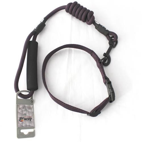 Комплект ошейник с поводком AnimAll для собак, S, темно-фиолетовый