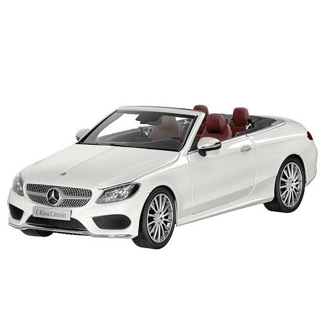 Модель Mercedes-Benz C-Class Cabriolet, Designo Diamond White Bright, Scale 1:18, артикул B66960613