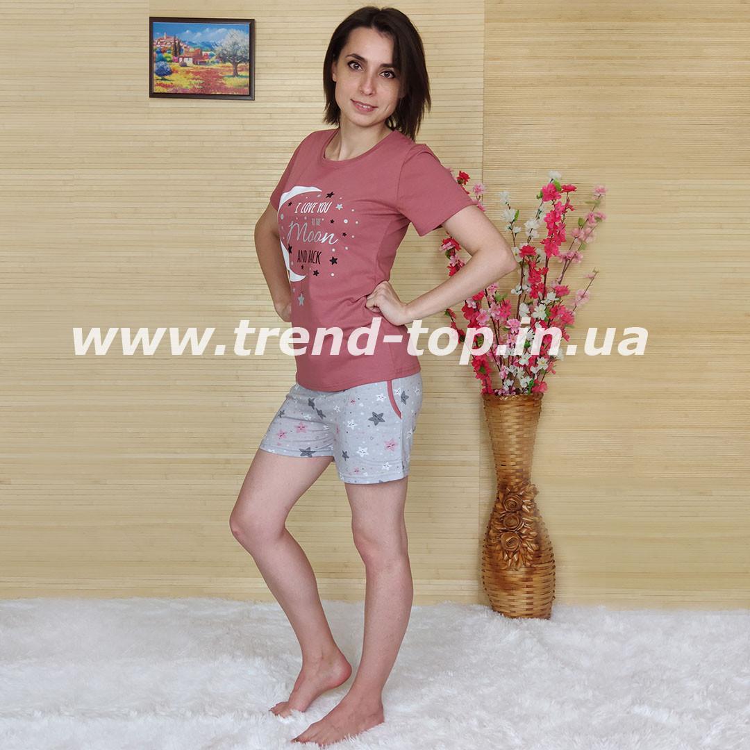 Пижама женская шорты с футболкой. Размер S