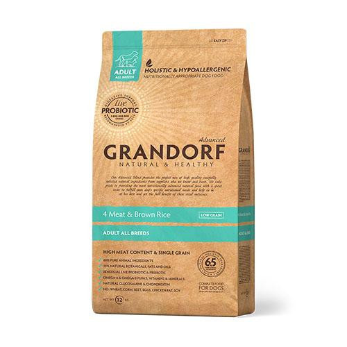 Сухий корм Grandorf Living Probiotics 4 Meat & Brown Rice All breeds для собак всіх порід, 4 м'яса з пробіотиками, 3 кг