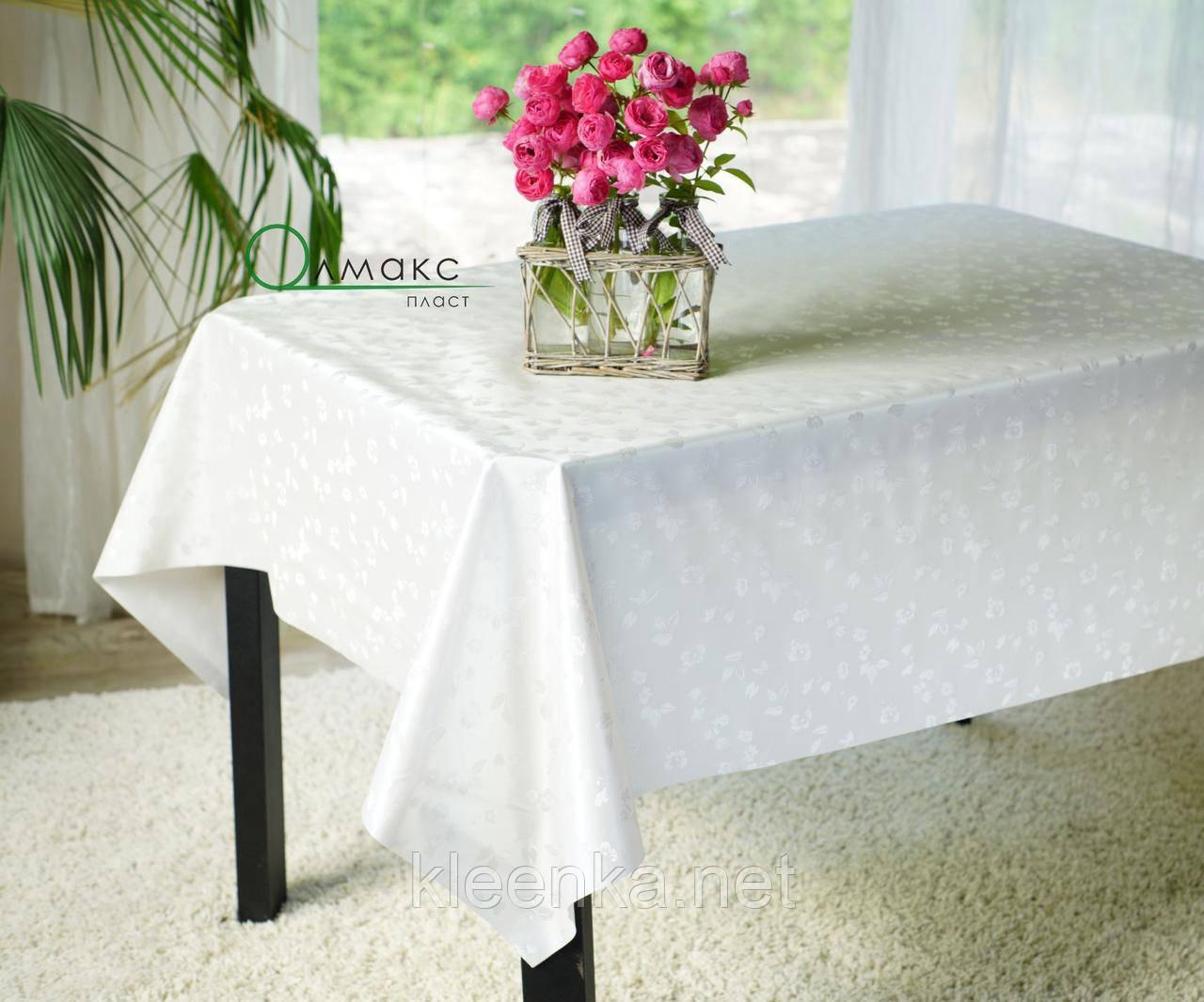 Белая праздничная скатерть-клеенка на кухонный стол  на тканевой основе с перламутром