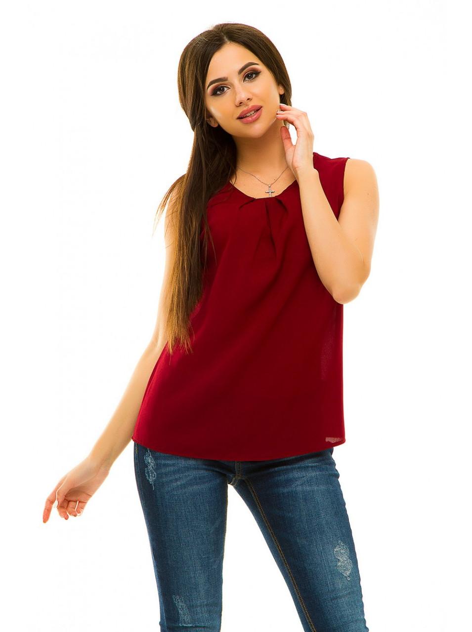 Блузка без рукавов креп-шифон