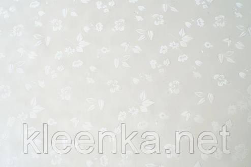 Белая праздничная скатерть-клеенка на кухонный стол  на тканевой основе с перламутром, фото 2