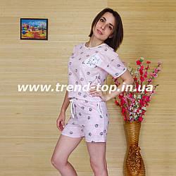 Комплект шорты и футболка женские (светло-розовая)