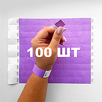 Контрольные бумажные браслеты на руку неоновые с логотипом для клуба Tyvek 3/4 - 100 шт Светло-фиолетовый