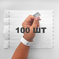 Контрольные бумажные браслеты на руку неоновые с логотипом для клуба Tyvek 3/4 - 100 шт Белый