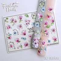 Декор для ногтей  Fashion Nails водные наклейки 3D слайдер-дизайн цветы (3D/120)