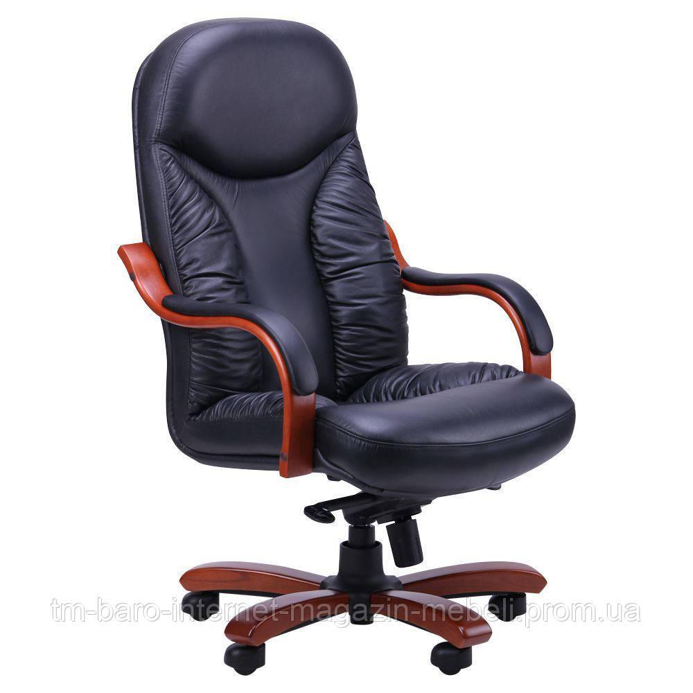 Кресло Буффало НB коньяк Кожа Люкс комбинированная, черный