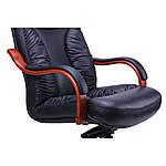 Кресло Буффало НB коньяк Кожа Люкс комбинированная, черный, фото 3