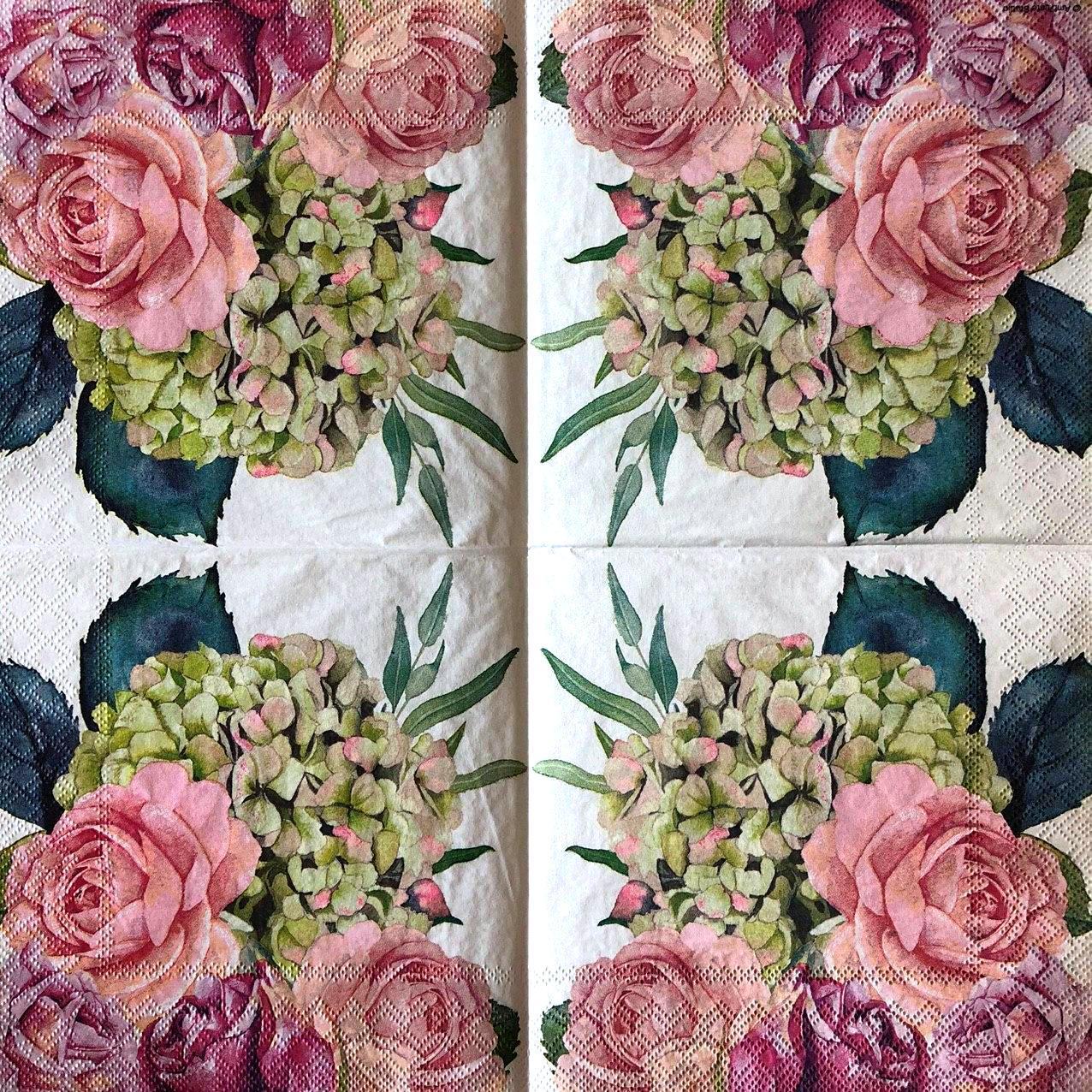 """Салфетки для декупажа 33x33 см 19 """"Цветы розы, пионы, сирень"""" салфетка декупажная. Серветка для декупажу"""