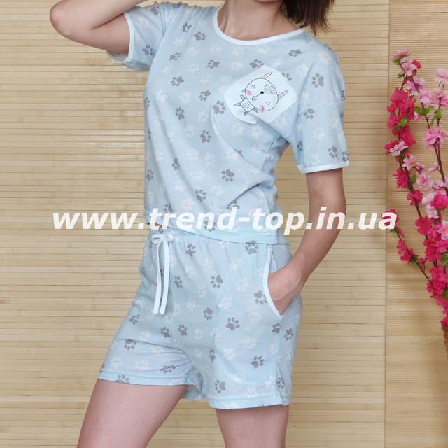 Костюм домашний. Пижама шорты и футболка светло-серого цвета