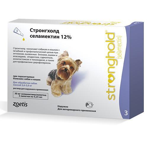 Капли Zoetis Stronghold 12% от блох и клещей у собак весом от 2.5 до 5 кг, 0.25 мл (1 пипетка)