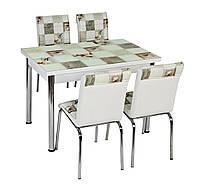 """Раскладной стол обеденный кухонный комплект стол и стулья 3D рисунок 3д """"Квадраты"""" ДСП стекло 70*110 Лотос-М"""