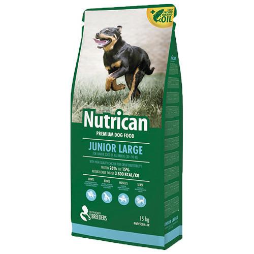 Сухой корм Nutrican Junior Large для щенков крупных пород возрастом от 1 до 12 месяцев со вкусом курицы, 15 кг