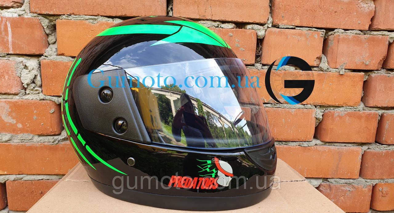 Шлем для мотоцикла Hel-Met F2-825-4 Хишник черный с зеленым глянец