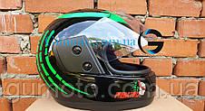 Шлем для мотоцикла Hel-Met F2-825-4 Хишник черный с зеленым глянец, фото 2