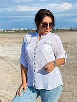 Женская блузка рубашка с длинным рукавом ткань коттон+кружево размеры:46-48,50-52,54-56, фото 1