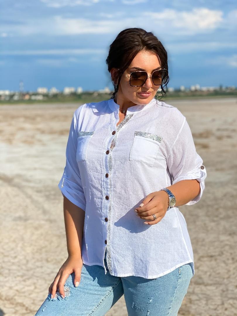 Женская блузка рубашка с длинным рукавом ткань коттон+кружево размеры:46-48,50-52,54-56