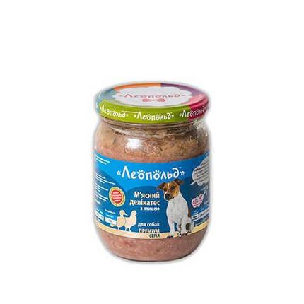 Консерва Леопольд для собак деликатес с птицей, 500 г, фото 2