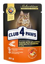 Влажный корм для кошек Клуб 4 Лапы Premium Selection пауч (селедь с салакой в желе), 80 г