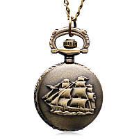 Часы карманные маленькие с парусником, диаметр 2,7 см