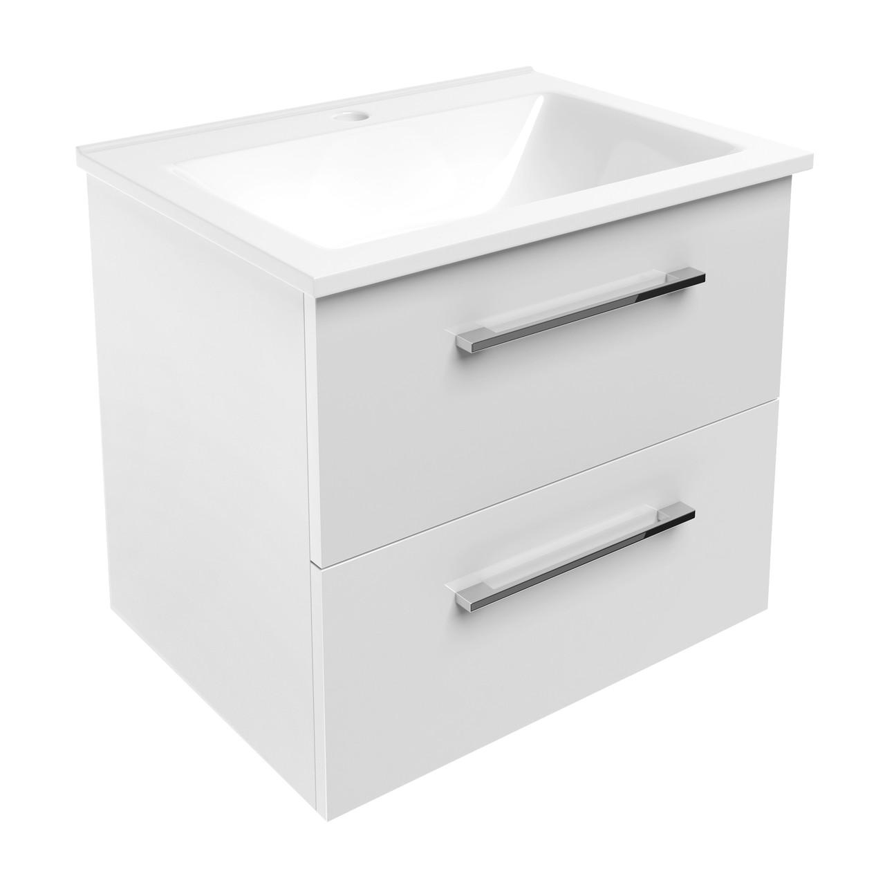 Звоните. Будет дешевле. NEMO комплект мебели 60см: тумба подвесная, 2 ящика, белая + умывальник накладной
