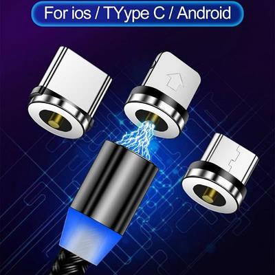 Магнитный кабель для зарядки 3in1 micro\lightning\type-c круглый M3