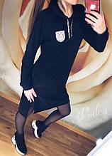 Женское платье батал, двунить, р-р 48-50 (чёрный)