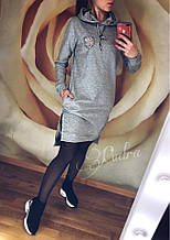 Женское платье батал, двунить, р-р 48-50 (серый)