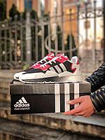 Мужские кроссовки белые с черным и красным Adidas Nite Jogger. Адидас Найт Джоггер мужские кроссы.