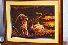 """Картина """"Саванна"""" вышивка крестик ручной работы."""