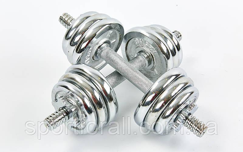 Гантелі розбірні (набірні) хромовані 2шт 2Х7,5 КГ TA-8209-15
