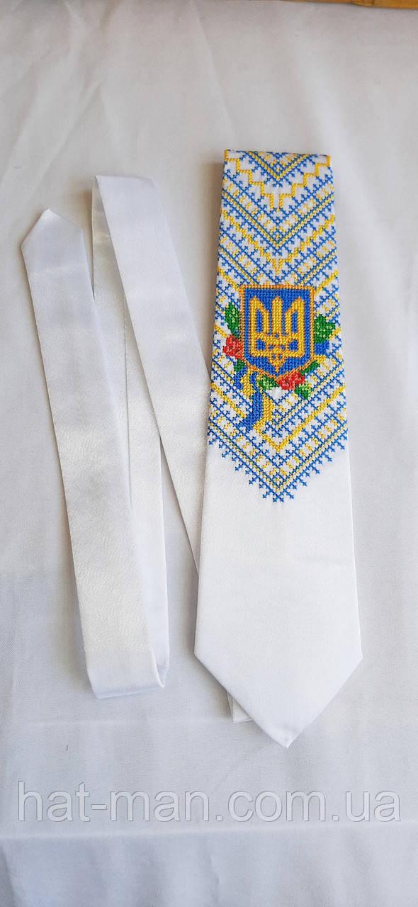 Краватка Парадна біла з тризубом