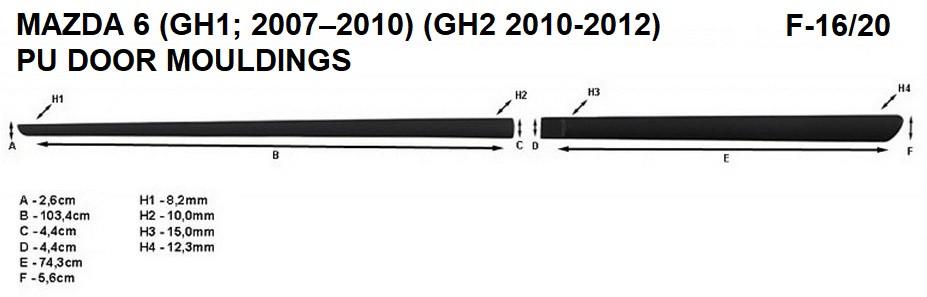 Молдинги на двері для Mazda 6 (GH1) 2007–2010, (GH2) 2010-2012, фото 8