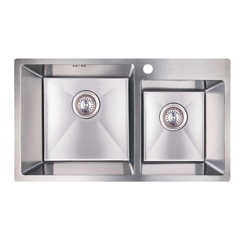 Нужно дешевле? Звоните. Кухонная мойка двойная Imperial S7843 Handmade 3.0/1.2 mm