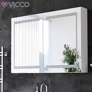 Зеркальный шкаф с подсветкой 100х70, LED Vicco белый